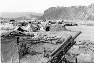 105's of 'A' Battery, 15th Field Artillery Battalion one mile south of Kumhwa